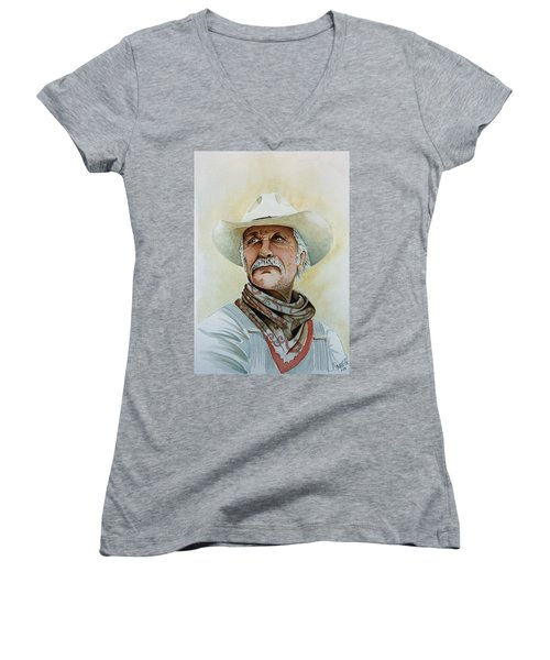 Robert Duvall As Augustus Mccrae In Lonesome Dove Women's V-Neck T-Shirt (Junior Cut) by Jimmy Smith