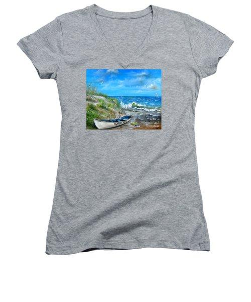 Robert Moses Beach Women's V-Neck T-Shirt
