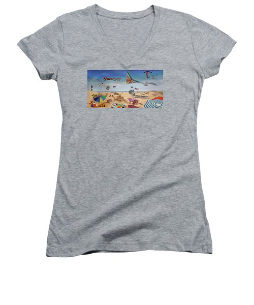 Robert Moses Beach Towel Version Women's V-Neck (Athletic Fit)