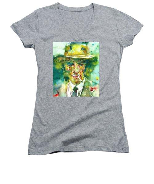 Women's V-Neck T-Shirt (Junior Cut) featuring the painting Robert Oppenheimer - Watercolor Portrait.2 by Fabrizio Cassetta