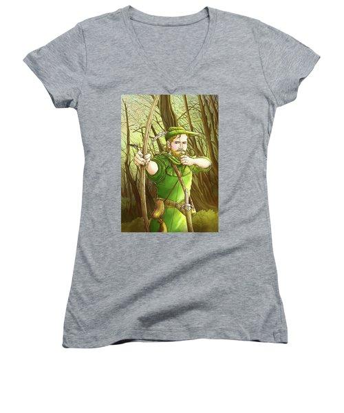 Robin  Hood In Sherwood Forest Women's V-Neck T-Shirt (Junior Cut) by Reynold Jay