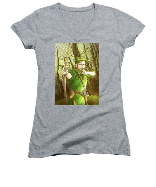 Robin  Hood In Sherwood Forest Women's V-Neck (Athletic Fit)