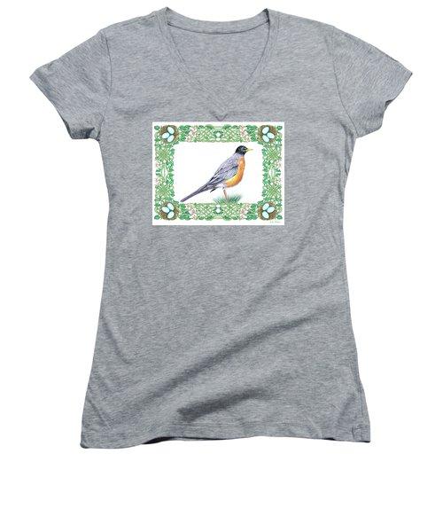 Robin In Spring Women's V-Neck T-Shirt (Junior Cut) by Lise Winne