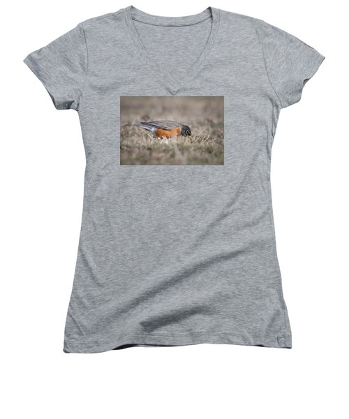 Women's V-Neck T-Shirt (Junior Cut) featuring the photograph Robin Pulling Worm by Tyson Smith