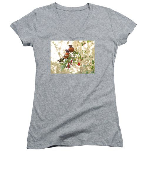 Robins In Holly Women's V-Neck