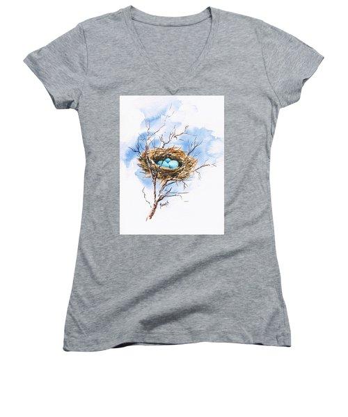 Robin's Nest Women's V-Neck T-Shirt (Junior Cut) by Sam Sidders