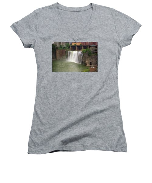 Women's V-Neck T-Shirt (Junior Cut) featuring the photograph Rochester, New York - High Falls by Frank Romeo