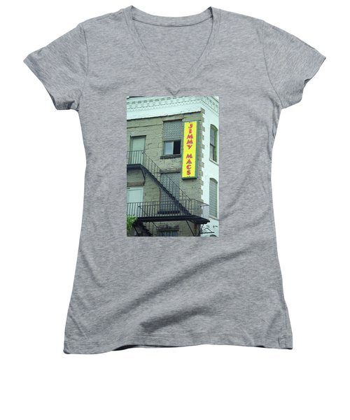 Women's V-Neck T-Shirt (Junior Cut) featuring the photograph Rochester, New York - Jimmy Mac's Bar 2 by Frank Romeo