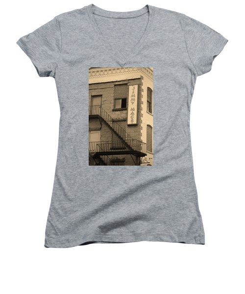 Women's V-Neck T-Shirt (Junior Cut) featuring the photograph Rochester, New York - Jimmy Mac's Bar 2 Sepia by Frank Romeo