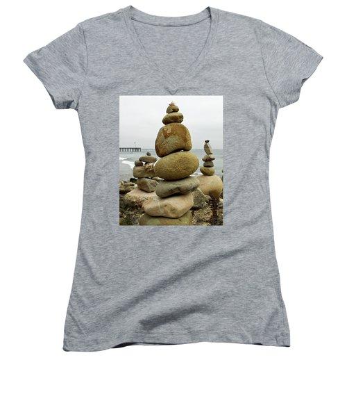 Rock Art Women's V-Neck T-Shirt (Junior Cut) by Joe  Palermo