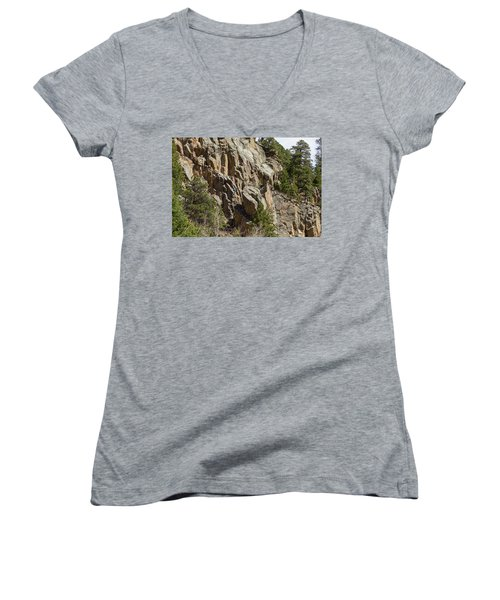 Women's V-Neck T-Shirt (Junior Cut) featuring the photograph Rock Climbers Paradise by James BO Insogna
