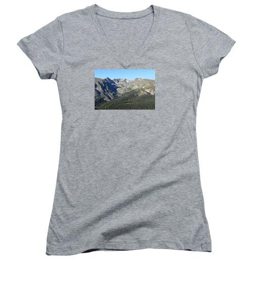 Rock Cut - Rocky Mountain National Park Women's V-Neck T-Shirt (Junior Cut) by Pamela Critchlow