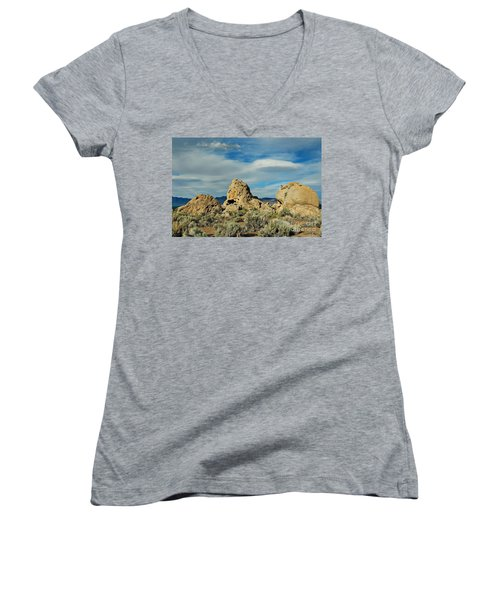 Women's V-Neck T-Shirt (Junior Cut) featuring the photograph Rock Formations At Pyramid Lake by Benanne Stiens