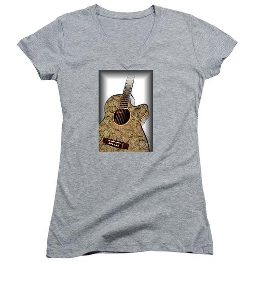 Rock Guitar 1 Women's V-Neck T-Shirt (Junior Cut) by Walt Foegelle