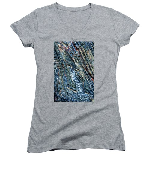 Women's V-Neck T-Shirt featuring the photograph Rock Pattern Sc03 by Werner Padarin