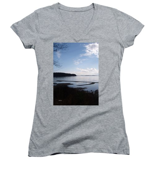 Women's V-Neck T-Shirt (Junior Cut) featuring the photograph Rock Point North View Vertical by Felipe Adan Lerma
