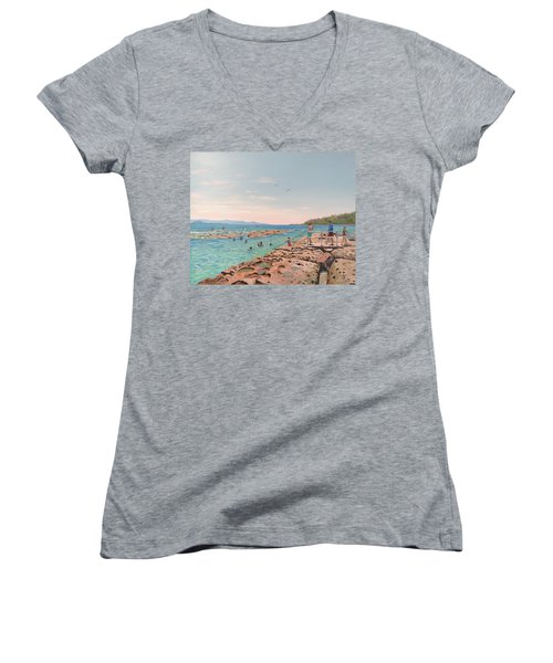 Rock Pool At Currarong Women's V-Neck T-Shirt
