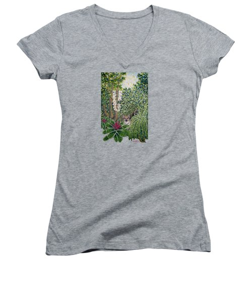 Rocke's Garden Clothing Women's V-Neck T-Shirt (Junior Cut) by Jim Rehlin
