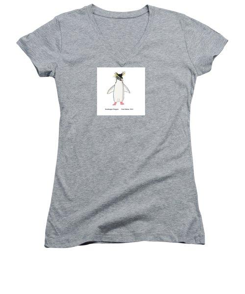 Rockhopper Penguin Women's V-Neck T-Shirt (Junior Cut) by Fred Jinkins