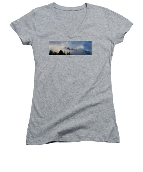 Rockies In The Clouds. Women's V-Neck T-Shirt (Junior Cut) by Ellery Russell