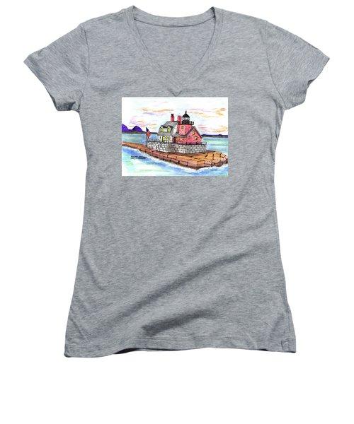 Rockland Breakwater Light Women's V-Neck T-Shirt (Junior Cut) by Paul Meinerth