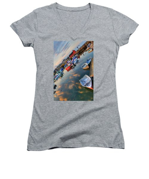 Women's V-Neck T-Shirt (Junior Cut) featuring the photograph Rockport Harbor Motif #1  by Joann Vitali