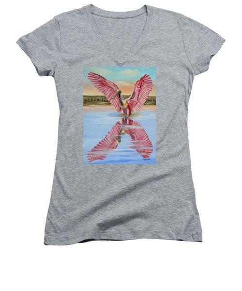 Rockport Roseate Spoonbill Women's V-Neck T-Shirt (Junior Cut) by Phyllis Beiser