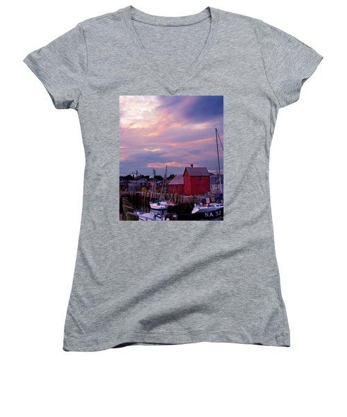 Rockport Sunset Over Motif #1 Women's V-Neck T-Shirt (Junior Cut) by Jeff Folger