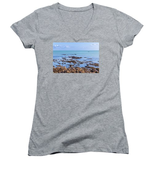 Women's V-Neck T-Shirt (Junior Cut) featuring the photograph Rocks And Seaweed And Seagulls In The Irish Sea At Howth by Semmick Photo