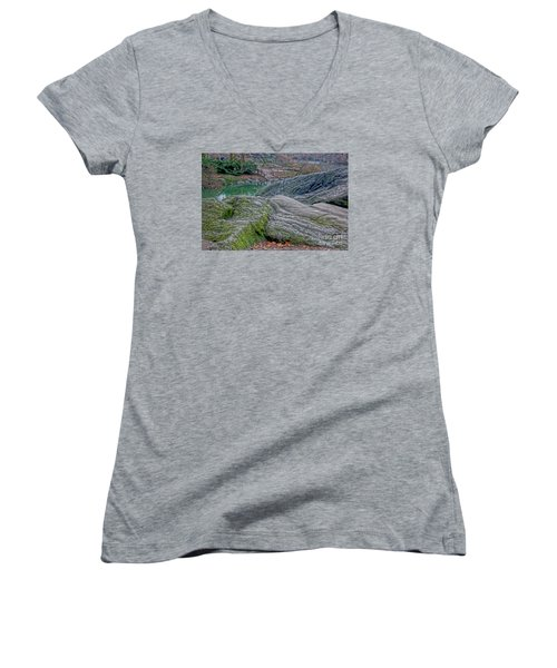 Women's V-Neck T-Shirt (Junior Cut) featuring the photograph Rocks At Central Park by Sandy Moulder