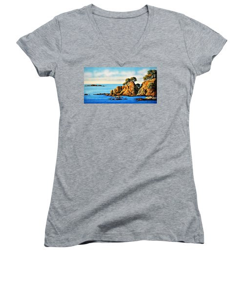 Rocks At Palafrugel,calella, Spain Women's V-Neck (Athletic Fit)