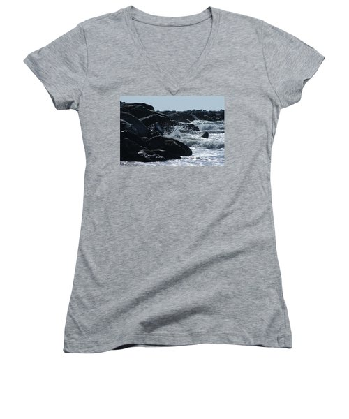 Rocks On The Jetti At Cocoa Beach Women's V-Neck T-Shirt