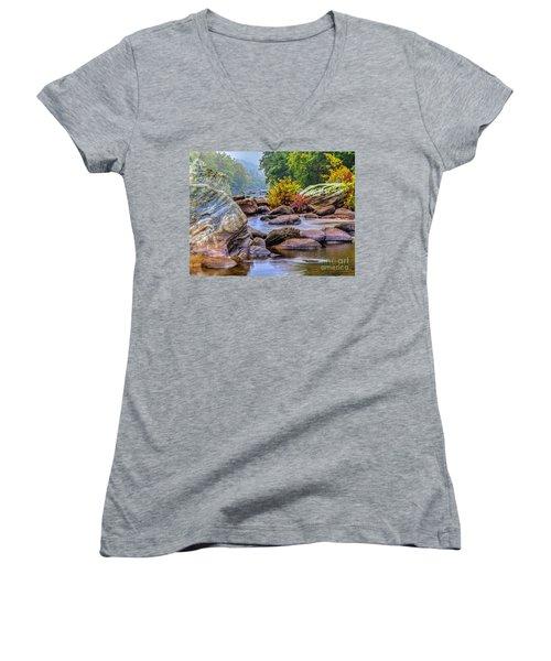 Rockscape Women's V-Neck T-Shirt (Junior Cut) by Tom Cameron