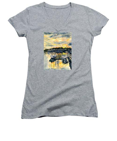 Rocktide Sunset Women's V-Neck T-Shirt (Junior Cut) by Melly Terpening