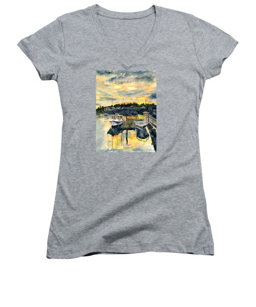 Rocktide Sunset Women's V-Neck T-Shirt