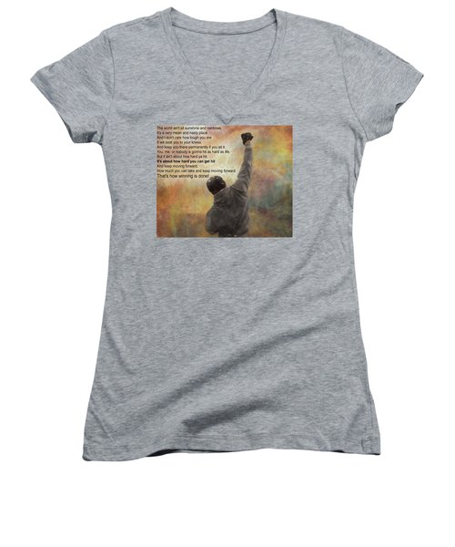 Women's V-Neck featuring the mixed media Rocky Balboa Inspirational Quote by Dan Sproul