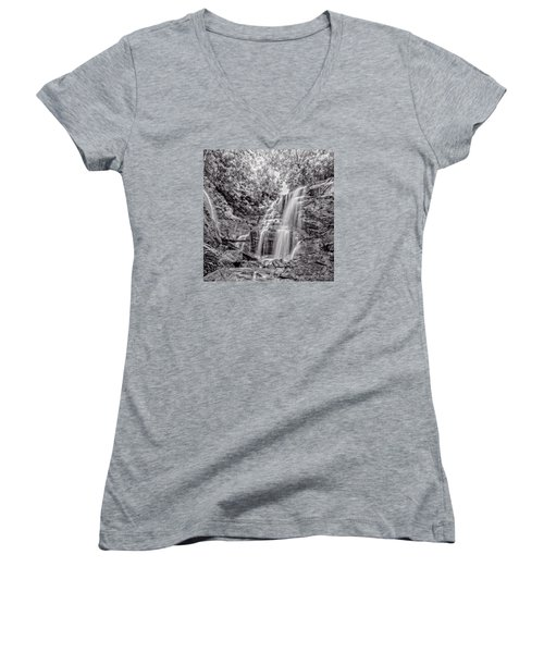 Women's V-Neck T-Shirt (Junior Cut) featuring the photograph Rocky Falls - Bw by Christopher Holmes