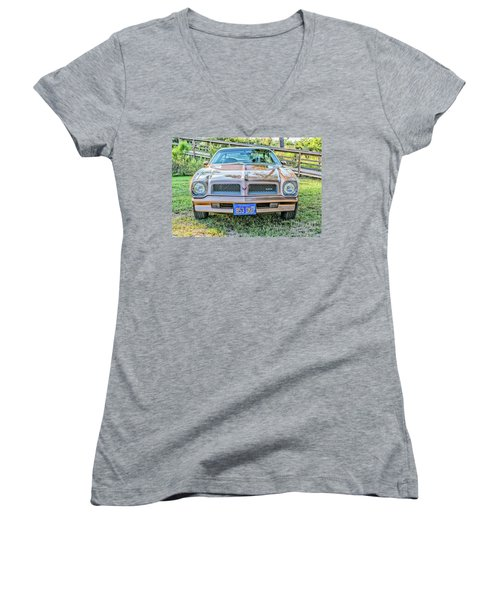 Women's V-Neck T-Shirt (Junior Cut) featuring the photograph Rocky Front Center by Brian Wright