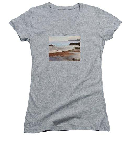 Rocky Neck Beach Women's V-Neck T-Shirt