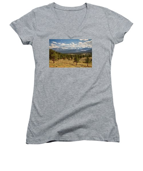 Women's V-Neck T-Shirt (Junior Cut) featuring the photograph Rocky Mountain Afternoon High by James BO Insogna