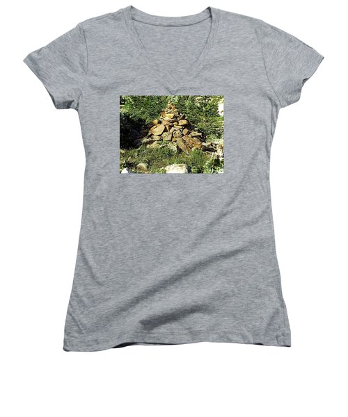 Rocky Mountain Cairn Women's V-Neck T-Shirt