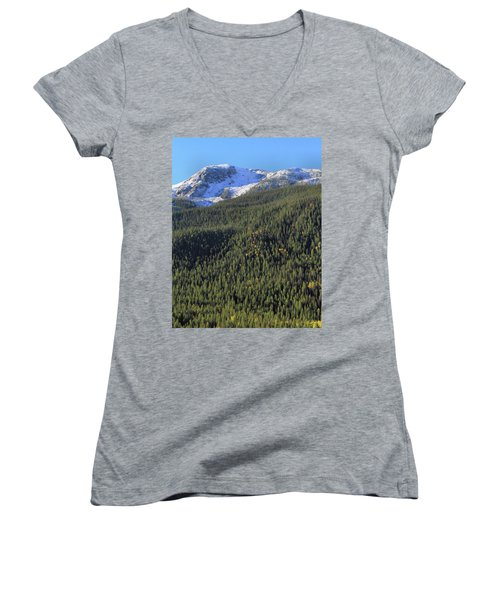 Women's V-Neck T-Shirt (Junior Cut) featuring the photograph Rocky Mountain Evergreen Landscape by Dan Sproul