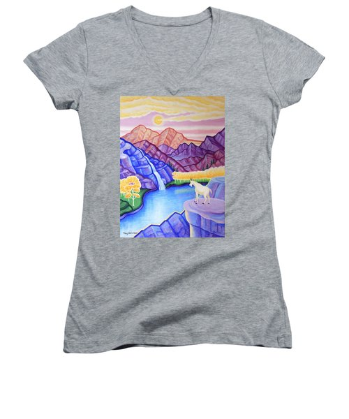 Rocky Mountain High Women's V-Neck T-Shirt (Junior Cut) by Tracy Dennison