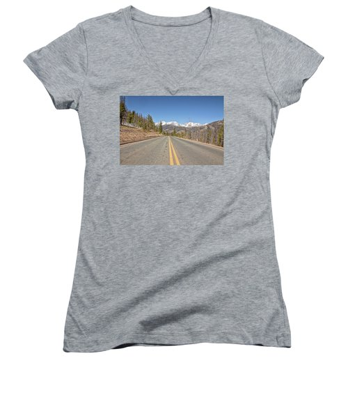 Women's V-Neck T-Shirt (Junior Cut) featuring the photograph Rocky Mountain Road Heading Towards Estes Park, Co by Peter Ciro