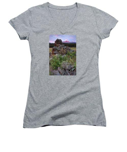 Rocky Mountain Sunrise Women's V-Neck T-Shirt (Junior Cut) by John Vose