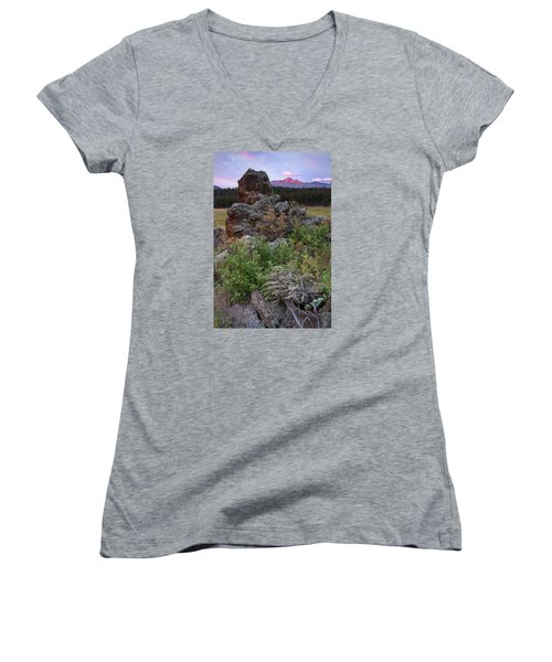 Rocky Mountain Sunrise Women's V-Neck T-Shirt