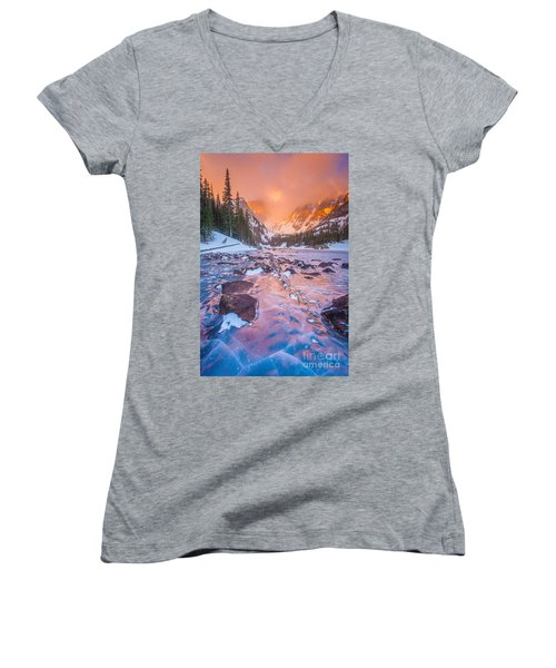 Rocky Mountain Sunrise Women's V-Neck (Athletic Fit)