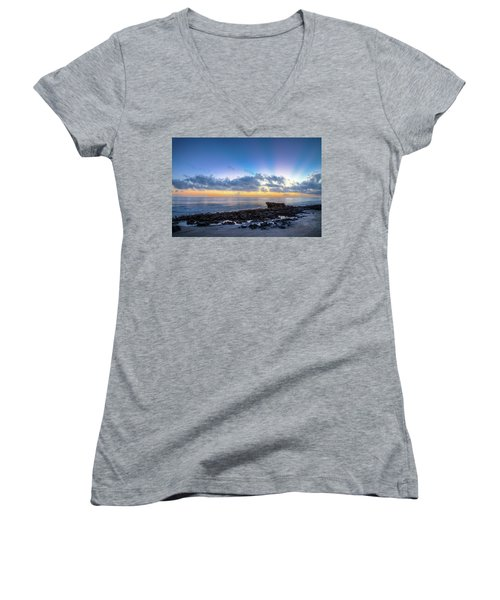 Women's V-Neck T-Shirt (Junior Cut) featuring the photograph Rocky Reef At Low Tide by Debra and Dave Vanderlaan