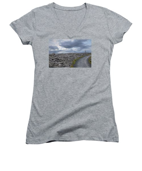 Rocky Road To The Lighthouse Women's V-Neck