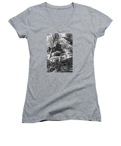 Rocky Roots Women's V-Neck T-Shirt (Junior Cut) by Alan Raasch